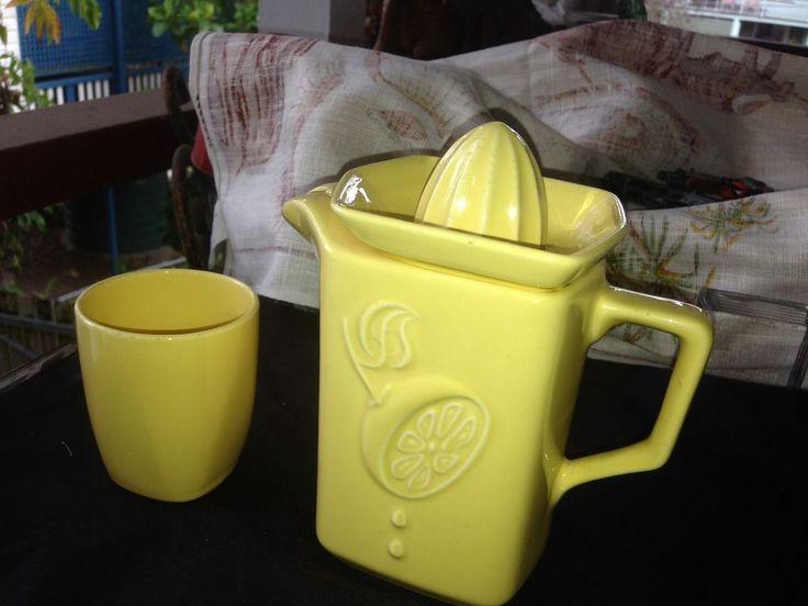 Vintage 1950 s Oz Pottery Diana 3 Pce Set Lemon Juicer Jug and Cup