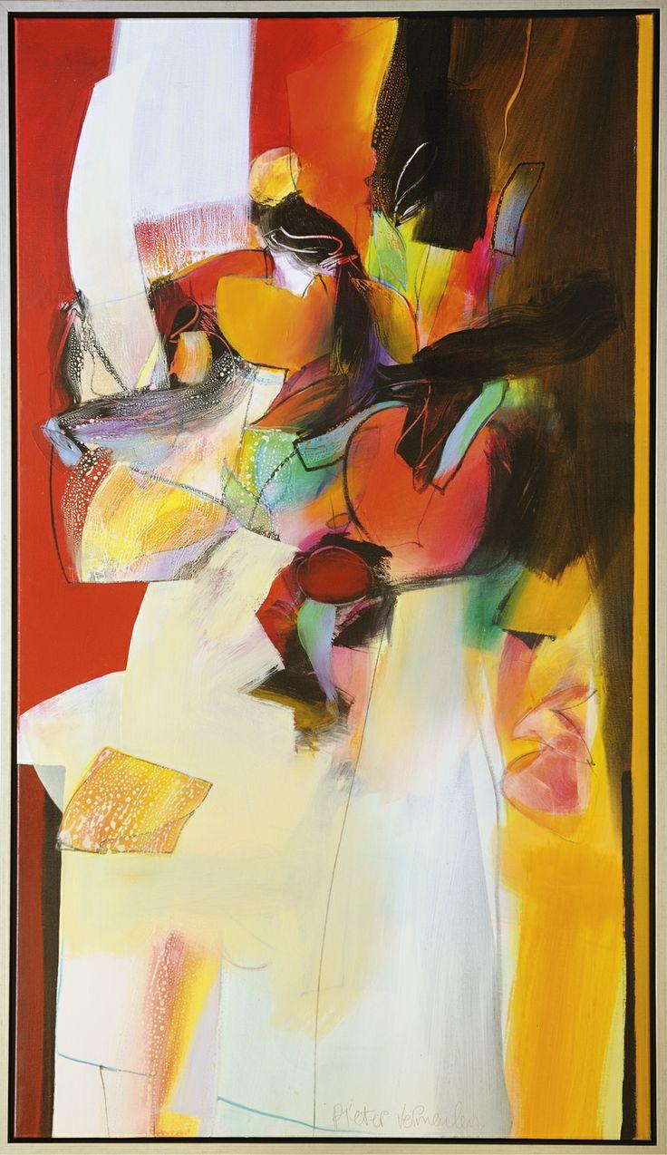 """Pieter Vermeulen in de #Kunstagenda 2015, """"Kleurrijk gezelschap"""", acryl/linnen, 180 x 100 cm."""