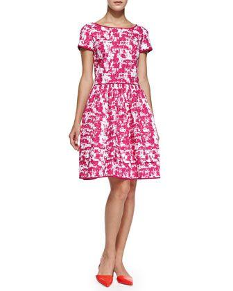 Short-Sleeve Printed Fit & Flare Dress by Oscar de la Renta at Neiman Marcus.