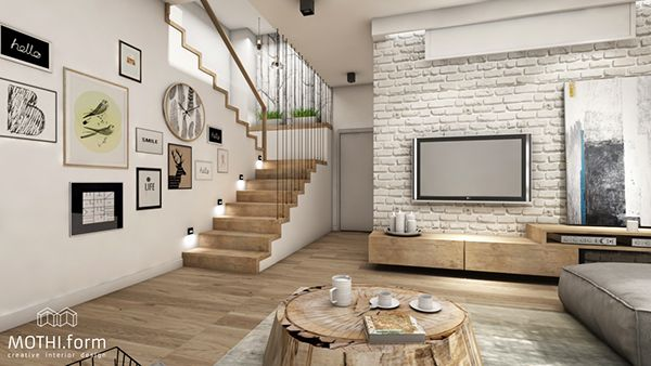 Białe cegły na ścianie telewizyjnej i drewniane schody w salonie