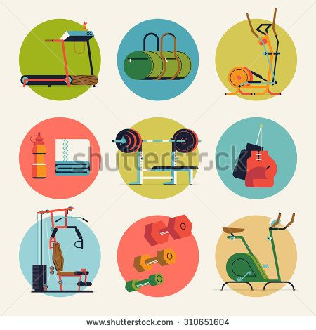 Cool vector flat design round icons on fitness gym exercise equipment and items with weight bench, treadmill, stationary bike and more. Ideal for sport and lifestyle themed web and graphic design - stock vector