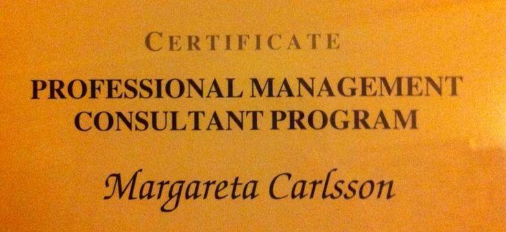 """På väg mot en internationell certifiering som managementkonsult har jag nu slutfört """"Professional Management Consultant Programme"""". Roligt!"""