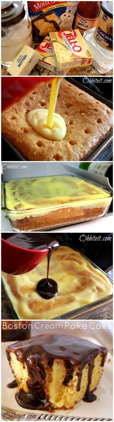 Boston Cream Poke Cake Recipe ~ Crazy Good!