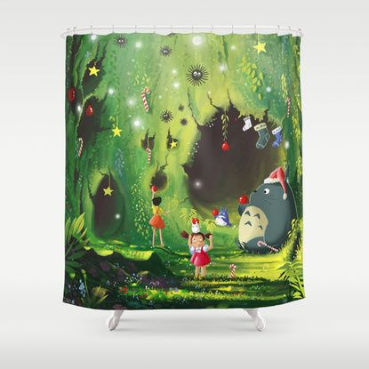 Totoro Christmas Shower Curtain