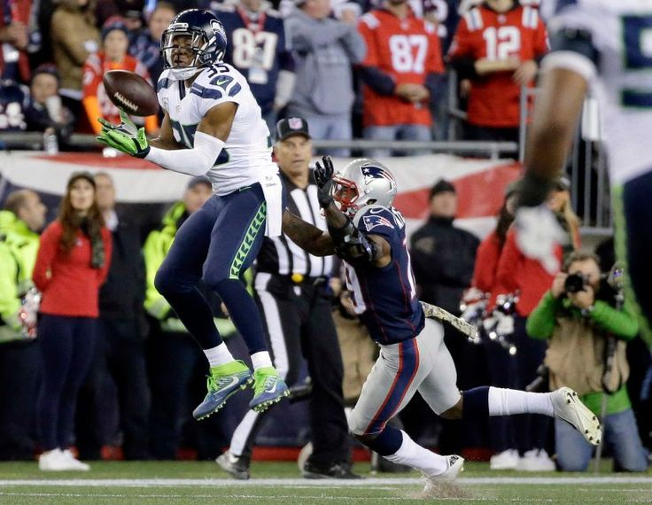 Seahawks vs. Patriots:  31-24, Seahawks  -  November 10, 2016  -   Seattle Seahawks cornerback DeShawn Shead intercepts a pass intended for New England Patriots wide receiver Malcolm Mitchell, right, during the first half of an NFL football game, Sunday, Nov. 13, 2016, in Foxborough, Mass.