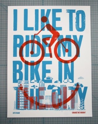 I Like to ride my bike in the city  (Fahrrad Poster)