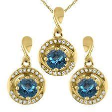 14K желтое золото натуральный лондонский голубой топаз серьги и кулон комплект с бриллиантами