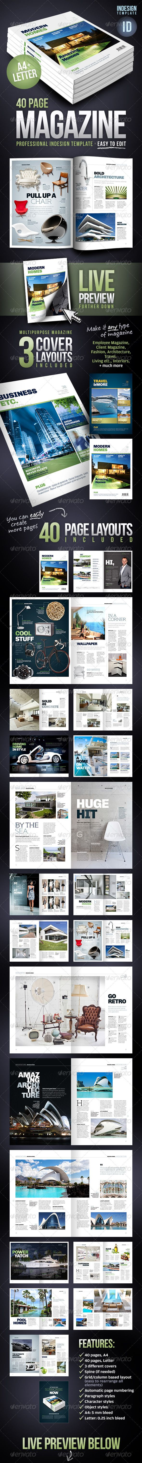 Multipurpose 40 Page Magazine - A4 + Letter Template #design  Download: http://graphicriver.net/item/multipurpose-40-page-magazine-a4-letter/2704345?ref=ksioks