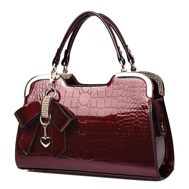 women genuine patent leather handbags crocodile crossbody shoulder bag ladies handbag luxury tote desigual messenger bags Bolsas