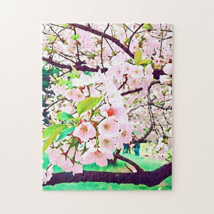 Beautiful Pink Cherry Blossom Japan Travel Jigsaw Puzzle Zazzle Com Cherry Blossom Japan Japan Illustration Cherry Blossom