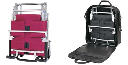 nice fold-up wheelchair...not for us, unless we could add about 20 straps...