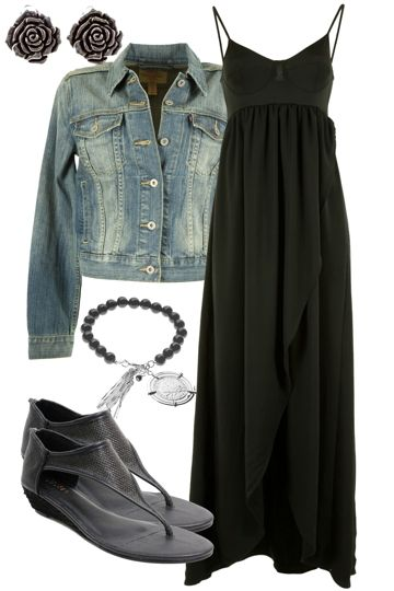 just need the jacketLong Dresses, Black Maxis, A Mini-Saia Jeans, Fashion, Style, Jeans Jackets, Denim Jackets, Maxis Dresses, Jean Jackets