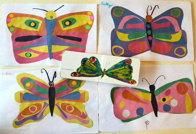 fun 5/6 year old party idea  - butterfly theme where you make your own b fly and read the classic story.  fun food ideas to go with it.  :): Beautiful Butterflies, Crafts For Kids, Butterfly Crafts, Butterfly Art, Art Ideas, Hungry Caterpillar, Art Activities, Art Projects, Eric Carle