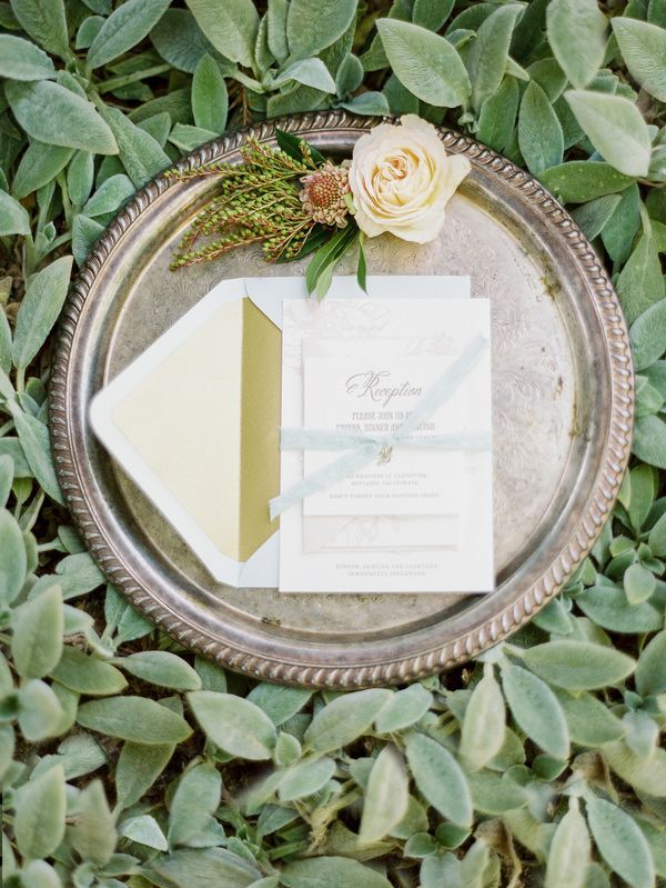 Letterpress Wedding Invitation and a Vintage Silver Tray on a Bed of Greenery | Michele Beckwith Photography | See More! http://heyweddinglady.com/down-the-garden-path-a-forest-green-and-peach-wedding/