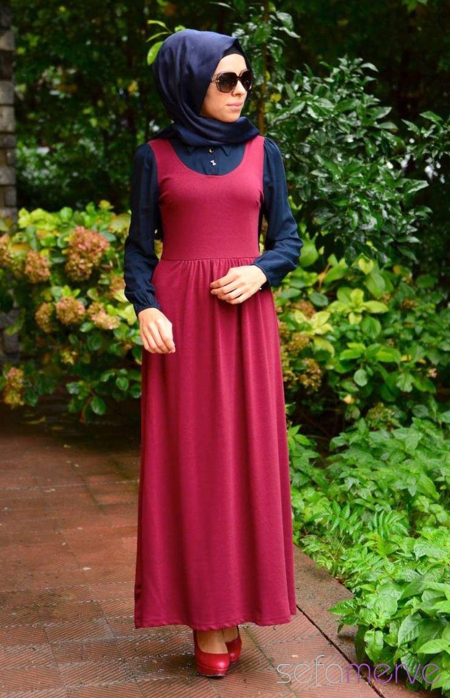 Tesettür Elbise WB 5401-03 Lacivert Bordo