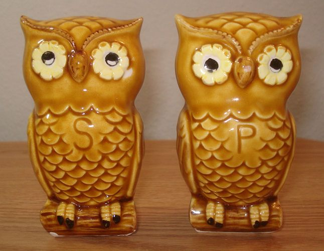 Wonderful Owl Salt U0026 Pepper Shakers Yellow And Brown Bird Collectible Kitchen Home  Art Decor