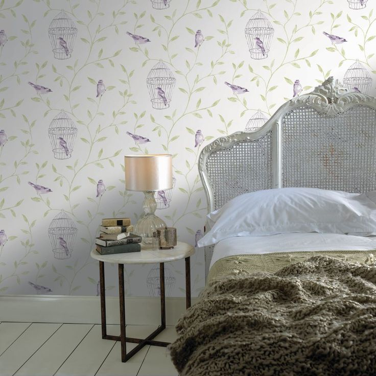 Fresco Song Bird Amethyst Wallpaper by Graham and Brown