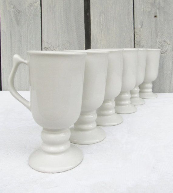 Hall White Pedestal Mugs set of 6 all white Irish by 2roads2take