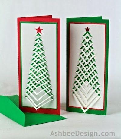 Новогодние елочки из картона. Открытка и силуэтная елочка (6) (400x461, 100Kb)