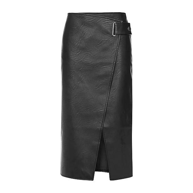 #Topshop #imitatieleren #rok #wehkamp #long #maxi #skirt #black #leather #gesp #asym #split