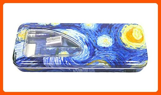 DaHo Tin Pencil Case with Pencils, Ruler, Eraser and Sharpener inside ( Starry Night) - Refine your workspace (*Amazon Partner-Link)