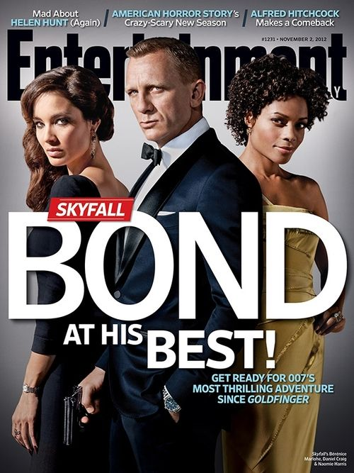 Bérénice Marlohe, Daniel Craig, and Naomie Harris on the cover of Entertainment Weekly (2 November 2012).