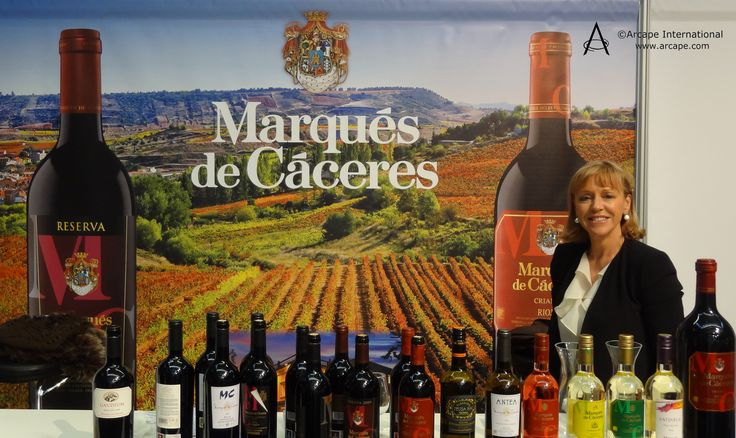 The colourful trade stand of established favourite in the UK of Marqués de Cáceres at the Wines from Spain Trade Fair.