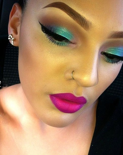 Turquoise and pink.