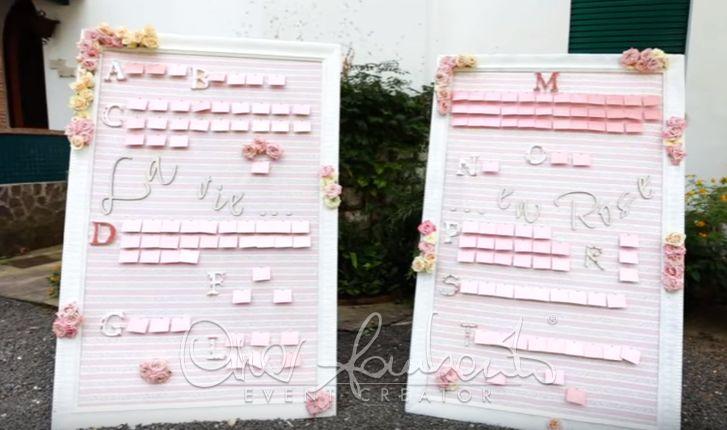 Tableau de mariage sentimentale, rosa e romantico