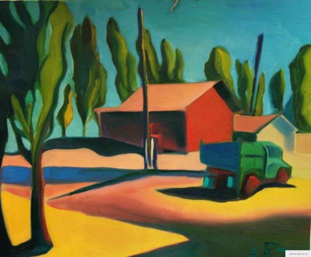 Poplar painting earta.ru picture , photo,Тополя пейзаж, Астраханская ферма,холст,масло 50*60 см. купить картину: 40000р