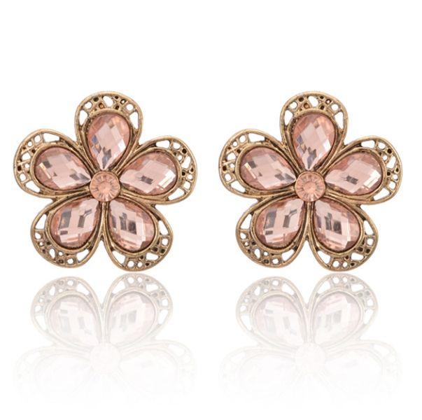 Charming Chic Style Flower Shape Rhinestone Vintage Stud Earrings