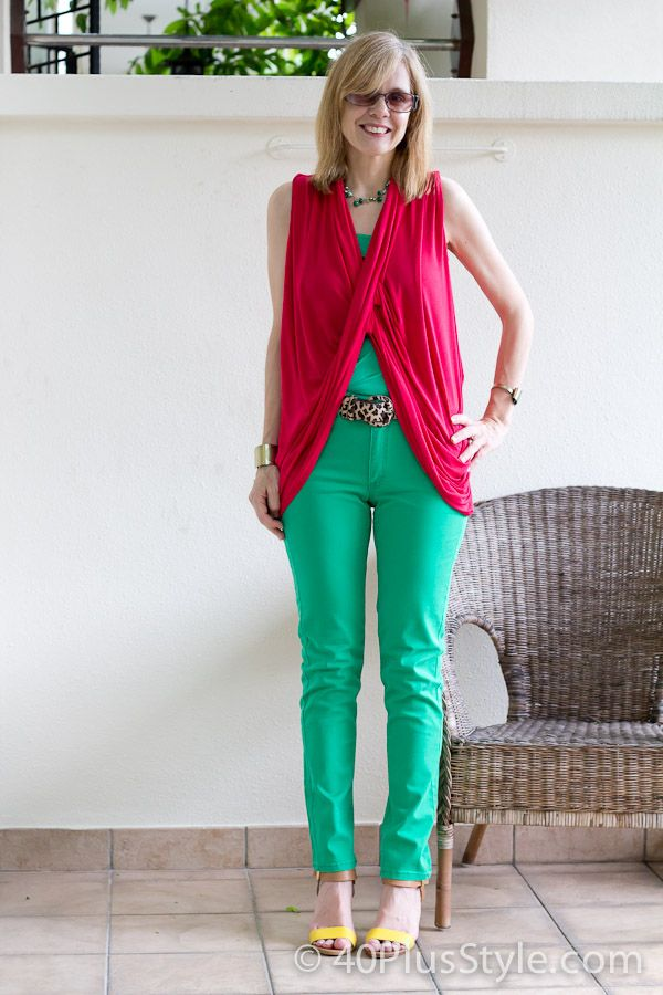 A look from my new brights capsule: red draped top: Color Capsule, Red Tops, Green Jeans, Pants, Twists Tops Cardigans, Bright Colours, Bright Colors, Bamboo Fabrics, Twists Topcardigan