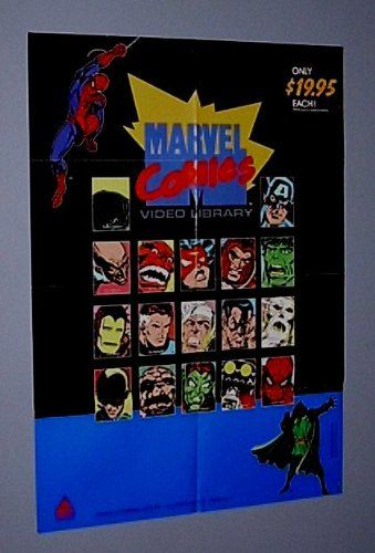 Rare Vintage Original 1985 Marvel Universe 38 by 27 inch Prism Entertainment Video Store Animated Series Cartoons Promotional Promo Poster: Amazing Spider-man/Avengers/Hulk/Captain America/Thor/Iron Man/Spider-Woman/Fantastic Four/Dr Doom/Green Goblin/Submariner/Magneto from the X-Men/Scarce 1980's Comic Book Superheroes Video Shop Window Display Poster: $79.99
