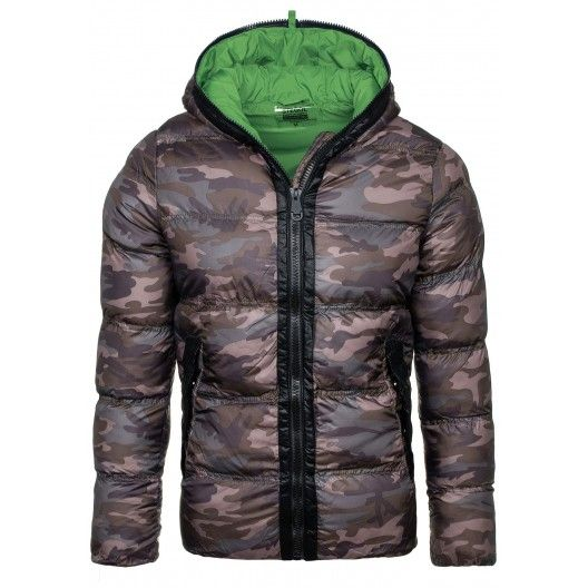 Maskáčová zimná pánska bunda so zeleným vnútrom a kapucňou - fashionday.eu