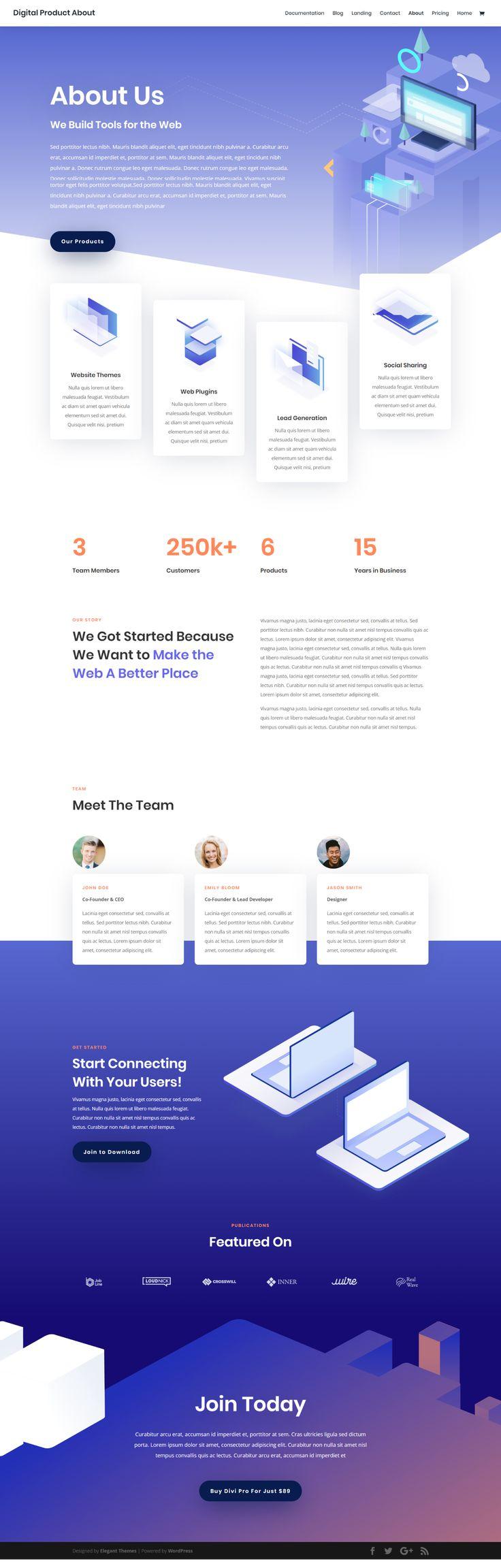 Free Modern Isometric Startup Website WordPress Template | WP Theme Web Design Inspiration Idea