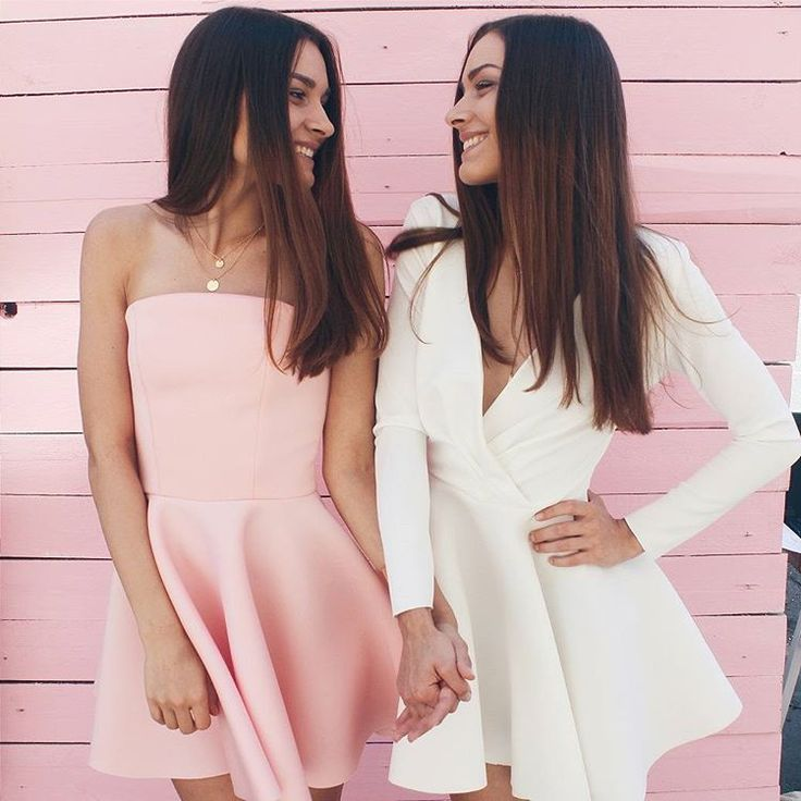 On the left: pink fit and flare dress, On the right: long sleeve skater dress
