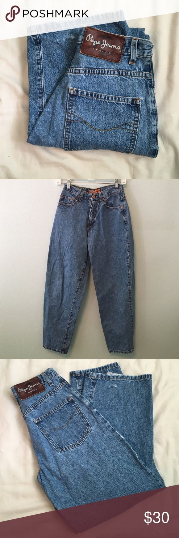 """High waisted vintage crop leg mom jeans Vintage high waisted crop leg mom jeans size 24. Tag says 25 but waist measures 12"""" across. Inseam 28"""". Rise 10"""". Leg width 9"""" across. Hips 18"""". Bottoms are a little distressed (see pictures.) """"Billie Jean"""" style Pepe Jeans London brand from the 80s/90s. Crops at ankle. Would look cute with boots ! Pepe Jeans Jeans Ankle & Cropped"""
