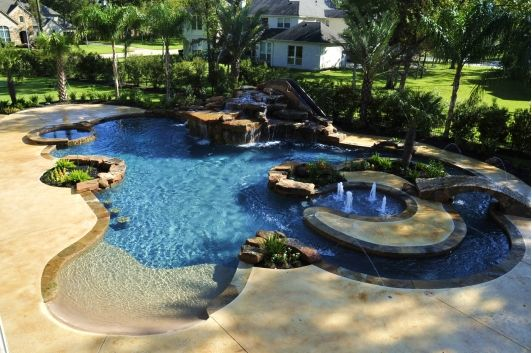 Pool Design Idea Love The Lazy River And Slide Behind The Waterfall