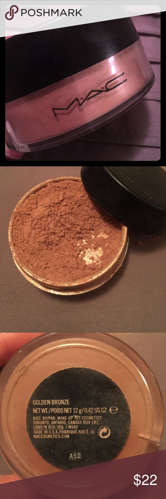 MAC highlighter. Mac golden bronzer highlighter. Brand new . The bottle is just cracked from the outside as seen on the pic . MAC Cosmetics Makeup Bronzer