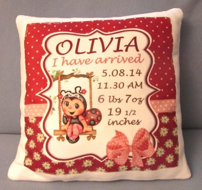 56 best baby hampers images on pinterest baby gifts baby cute personalized pillow new born baby announcement perfect keepsake negle