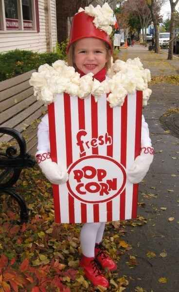 Start a snackwave as a box of popcorn. | 33 Super Easy Cardboard Box Halloween Costumes For Lazy People