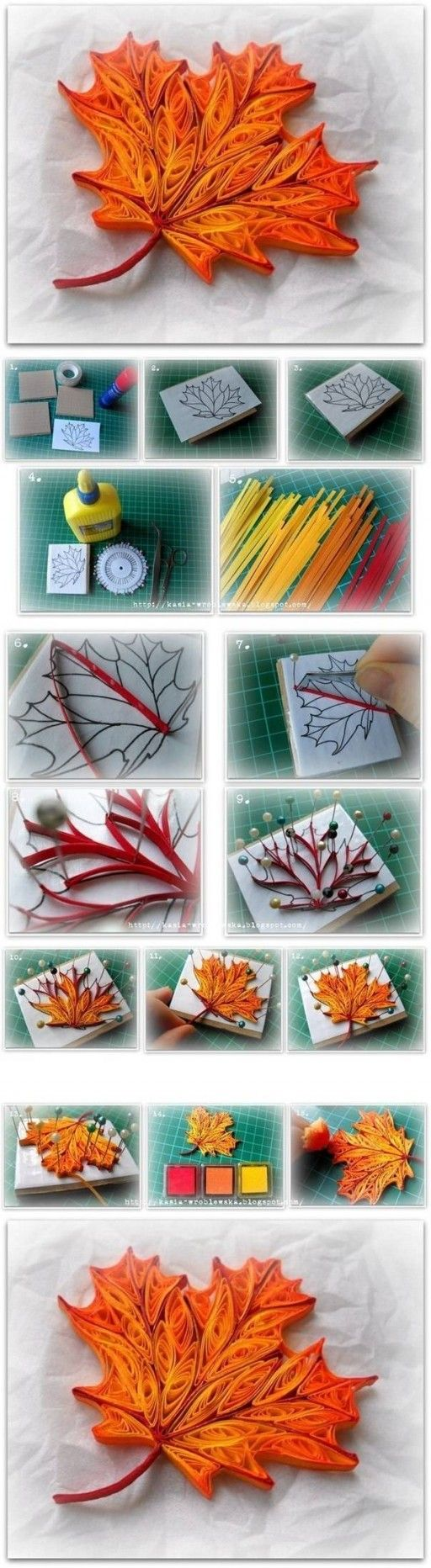 How to make quilled maple leaf step by step diy tutorial for Easy quilling designs step by step