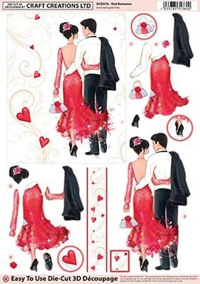 Craft Creations Die Cut Decoupage Red Romance