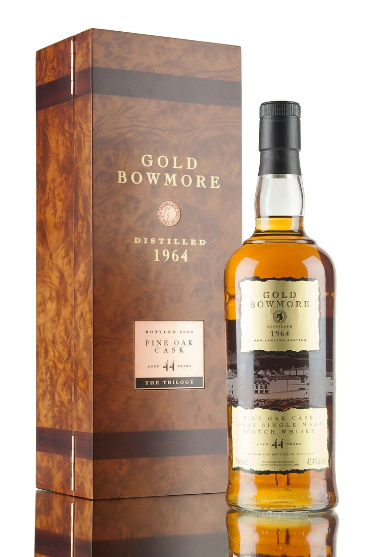 Distilled in 1964, Gold Bowmore is the third and final limited edition release in Bowmore's special Trilogy series. A 44 year old single malt Scotch whisky, matured in a combination of bourbon & sherry casks at the legendary No.1 Vaults on Islay, only 701 bottles of Bowmore Gold were bottled in 2009 at 42.4%. Each release in this rare trilogy was distilled in 1964, this particular Bowmore vintage has produced some exceptional whisky, including Gold, rated in the high 90's by many...