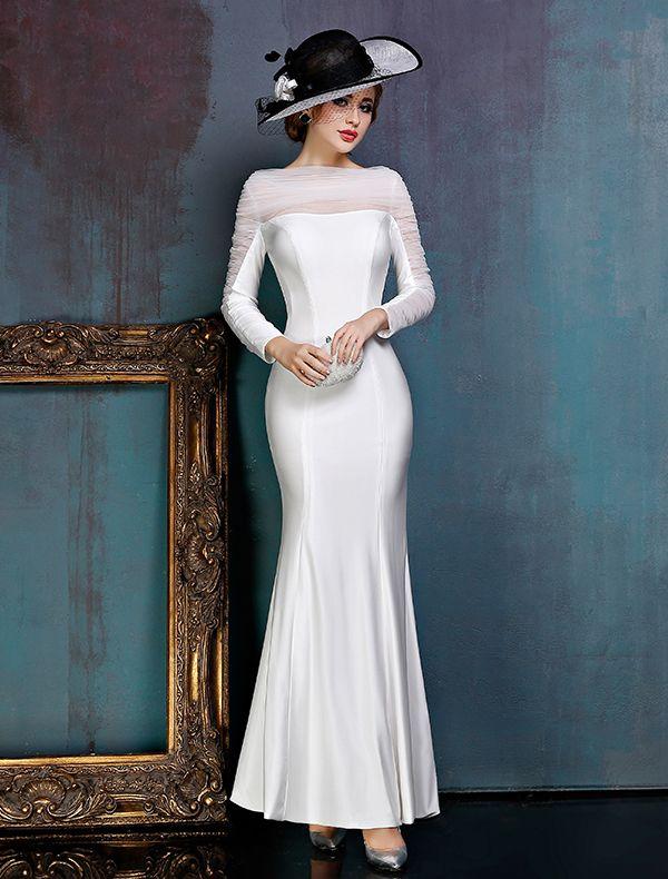 Prosta Biała Sukienki Wieczorowe Satynowa Sukienki Wizytowe Z Żabotem Tiulu