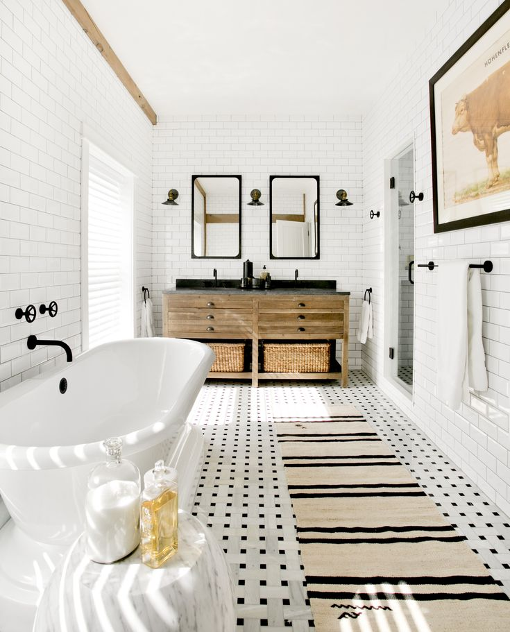 Bright bathroom whose walls are lined with subway tiles in this home located in Sag Harbor, NY. [2544 × 3152] - Imgur