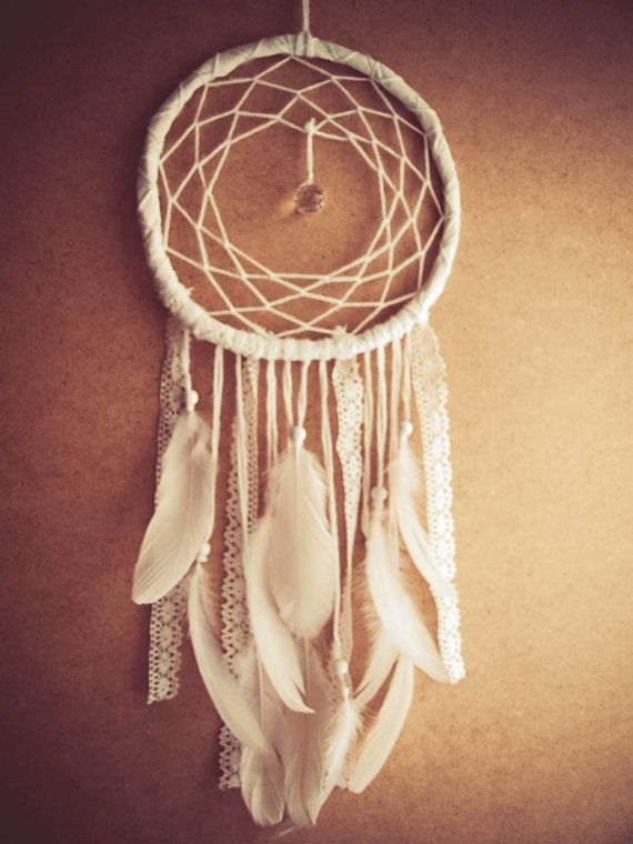 Large Dream Catcher - White Dreams - With Sparkling Crystal Prism, White Swan Feathers, Textiles and Laces - Boho Home Decor, Nursery Mobile...
