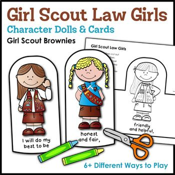 Girl Scout Law Girls: Character Dolls & Cards - Girl Scout Brownies -  Brownies enjoy fun games and activities with this super cute set of Brownie-themed character dolls and cards that help them learn and recite The Girl Scout Law during troop meetings, campouts, and other Girl Scout events. The cards may also be assembled into mini coloring...