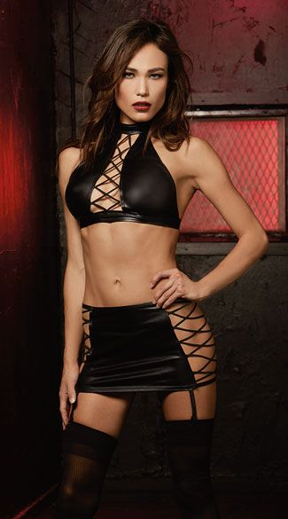 Flaunt your sexy curves in this black vinyl set featuring a high neck crop top with an open neckline, lace-up detailing, a tie back closure, and a matching skirt with open side panels, lace-up detailing, an open back with strappy detailing, and adjustable garter straps. (Panty and thigh highs not included.) Lace-Up Vinyl Halter Set, Garter Skirt Set, Black Halter Set
