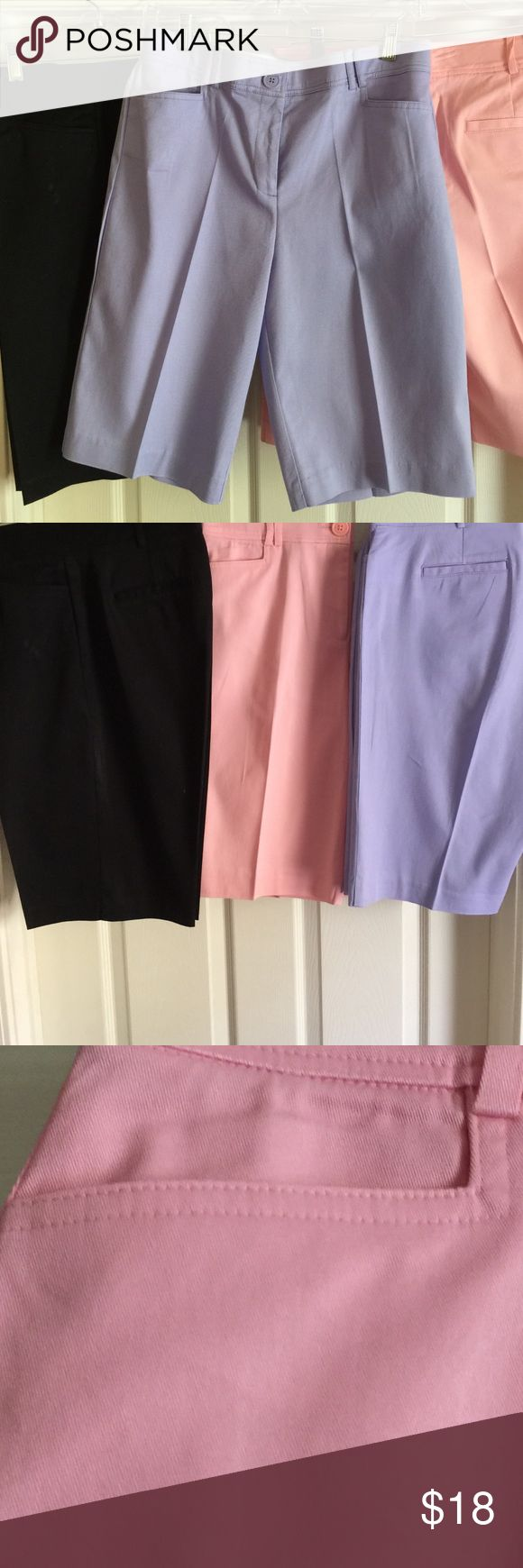 Counterparts Knee Length Shorts 3 Different Colors Counterparts knee length shorts in Black, Pink and Lavender Flat Front 97% Cotton 3% Spandex $18 each Counterparts Shorts Skorts